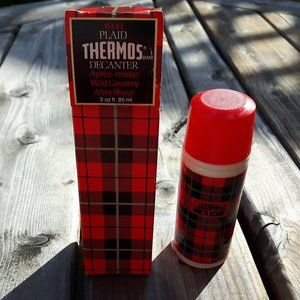 Vintage THERMOS Avon red Plaid-Wild Country After